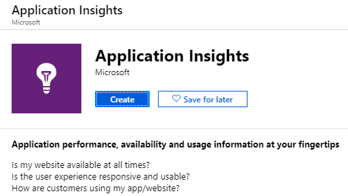 Application Insights in the Azure Marketplace