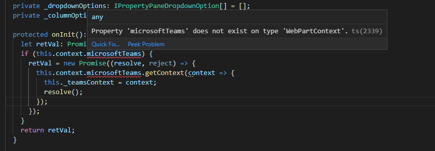"The error ""Property 'microsoftTeams' does not exist on type 'WebPartContext'."" shown in Visual Studio Code's intellisense."