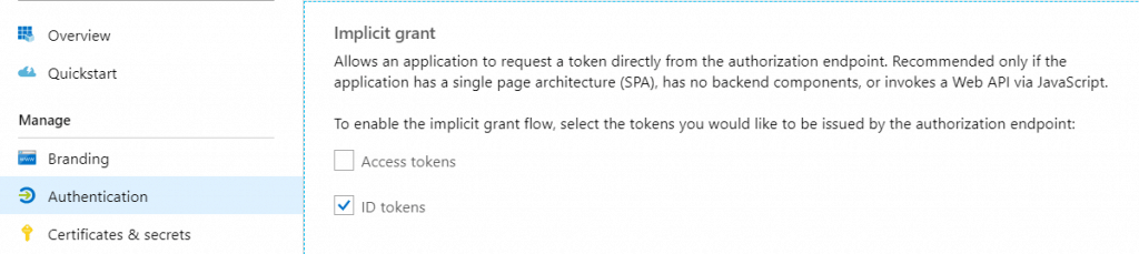 How to enable Azure AD to return ID tokens for your app.