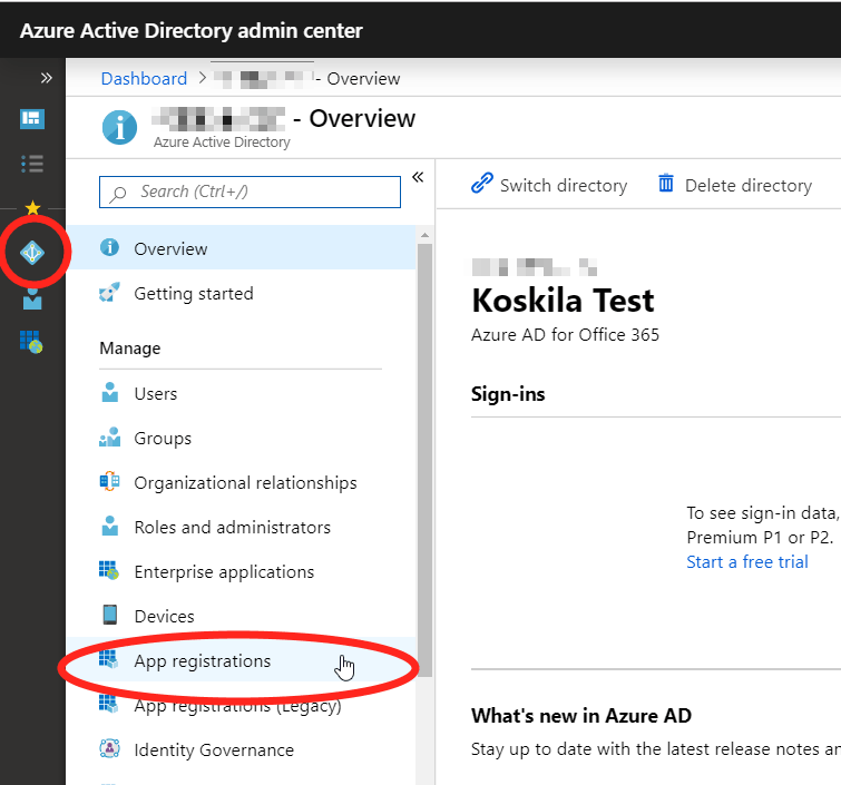 App Registrations under Azure Active Directory.