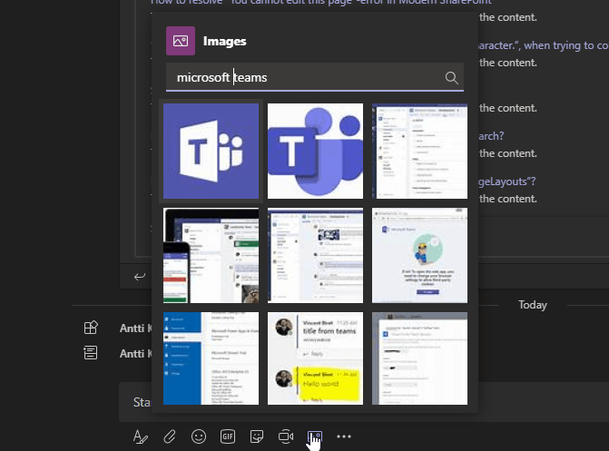 Pulling images from Bing using the message extension.