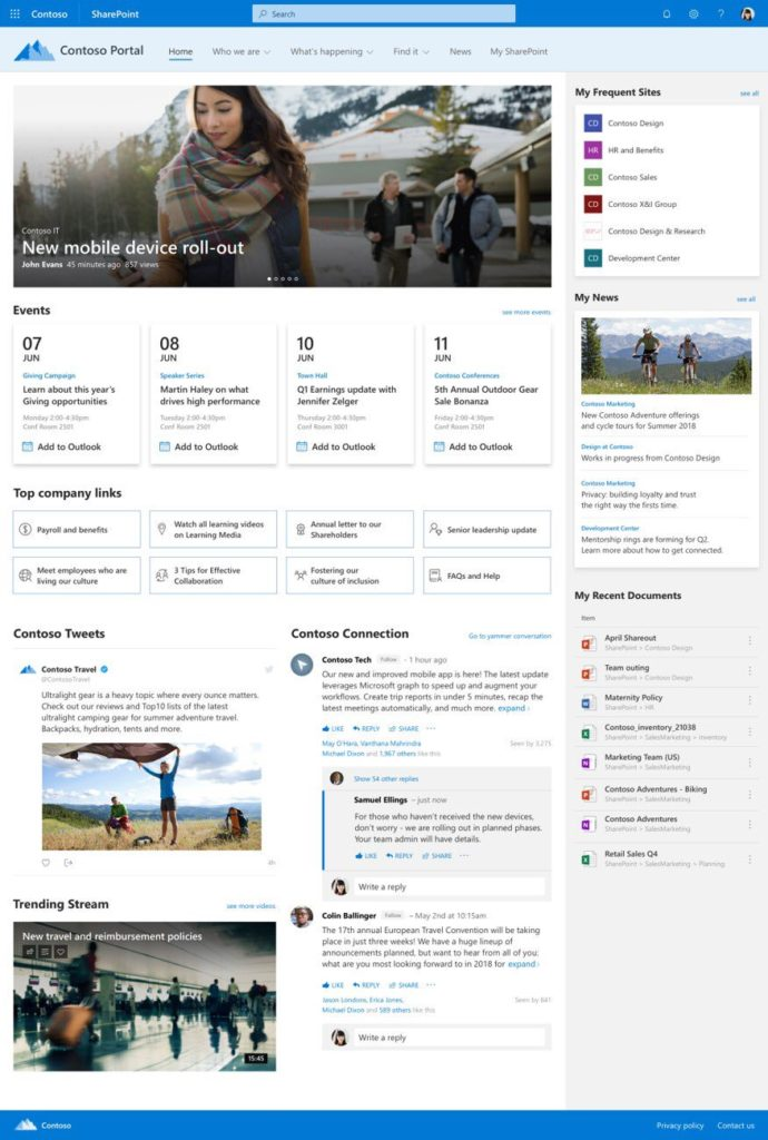 Example layout of a SharePoint Home site - example by Microsoft.