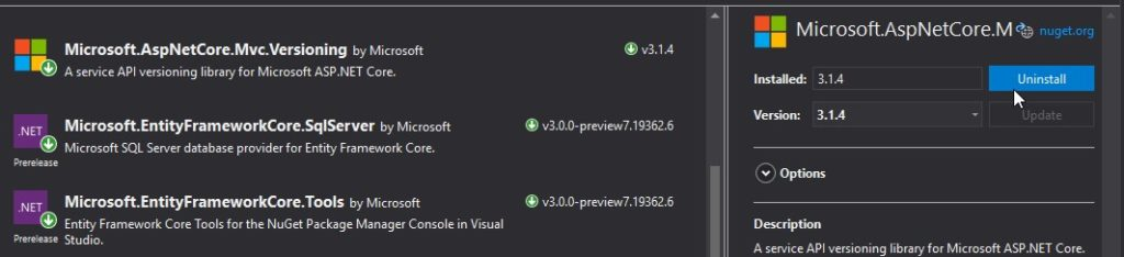 How to uninstall Microsoft.AspNetCore.Mvc.Versioning NuGet package.