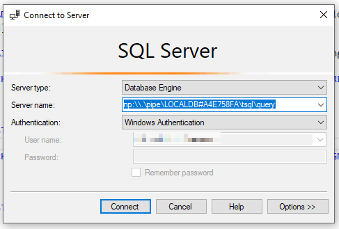 How to log in to local SQL Server using named pipes.