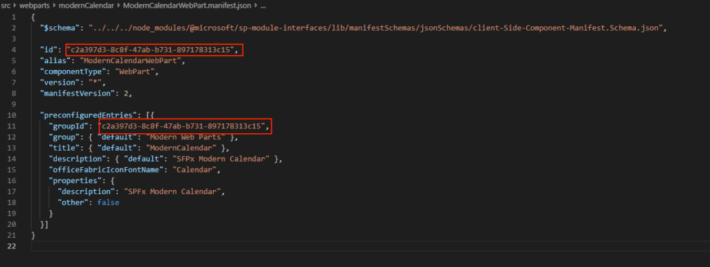 You'll need to grab the guid of this component from the manifest file - see the highlighted parts. It's needed for the Teams manifest.