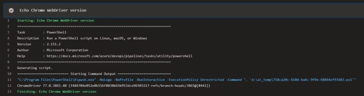 ChromeWebDriver version in Azure DevOps build pipeline job's log output