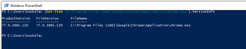 The PowerShell one can use to find out the Chrome version on a machine.