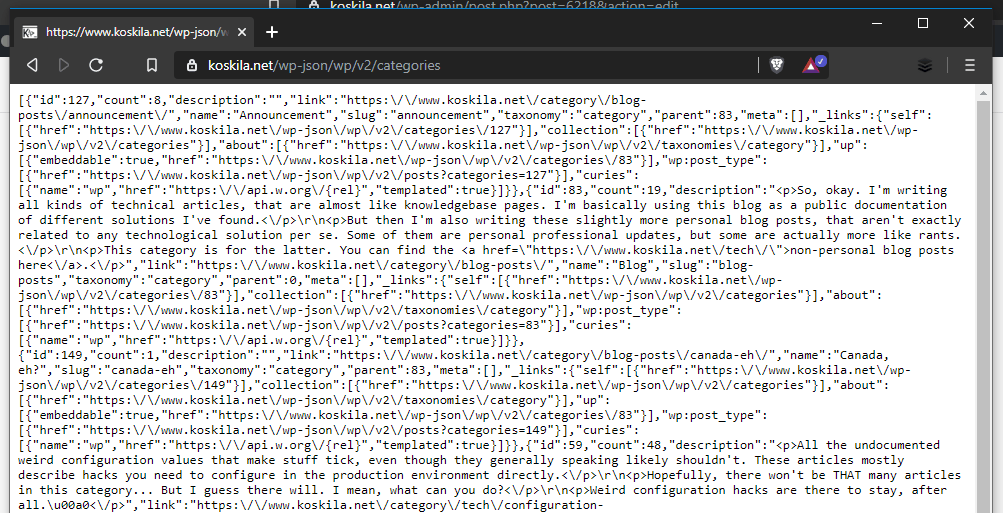 An example of my website returning a JSON response for the Categories REST API. Oh, and the beautiful browser I'm using? That's Brave - find out more here: https://brave.com/kos048