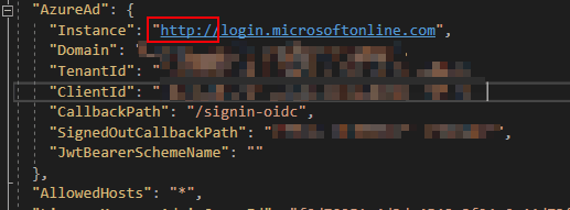 Misconfigured Azure Active Directory authentication in a .NET web app - you can't use http instead of https for the authentication endpoint (login.microsoftonline.com)!