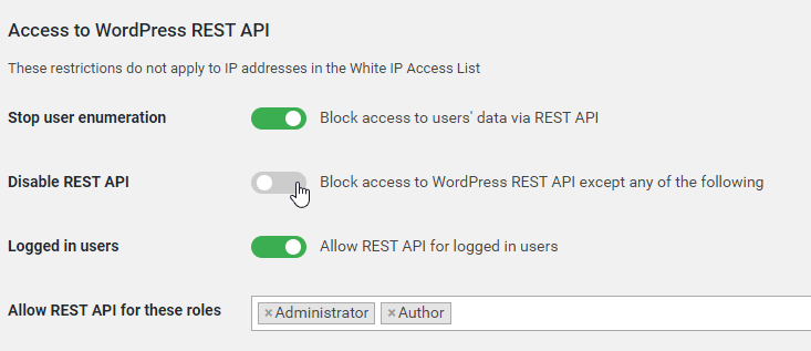 How to limit access to the REST APIs using WP Cerber (or similar) WordPress plugin.