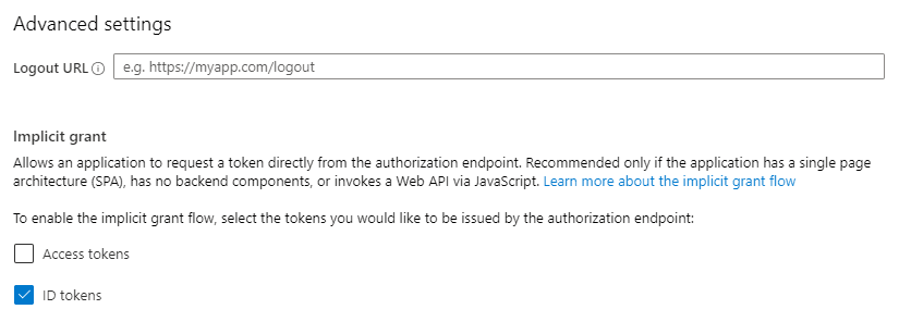 """How to enable Azure Active Directory to return tokens for your app? This form can be found under """"Authentication"""" section of your Azure app registration."""