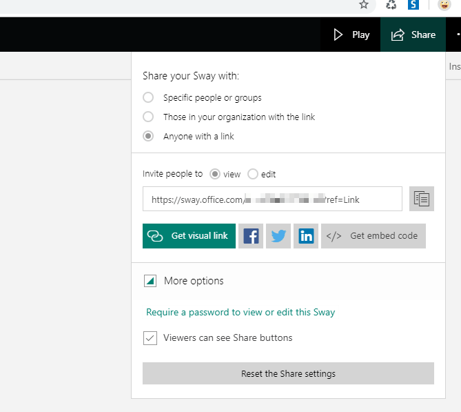 Microsoft Sway sharing options - it's very barebones.
