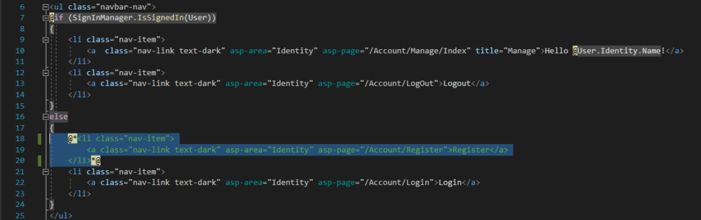 """How to disable the """"Register"""" link from the LoginPartial.cshtml."""