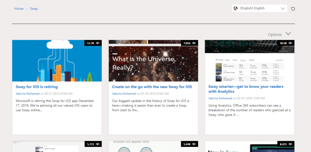 The official Microsoft Sway blog - dead like a Delve blog, am I right?