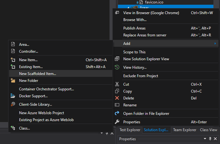 How to create a new scaffolded item in ASP.NET Core