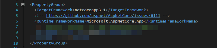 Setting the RuntimeFrameworkName in the .csproj file is easy. Just copy-paste the XML from this picture!
