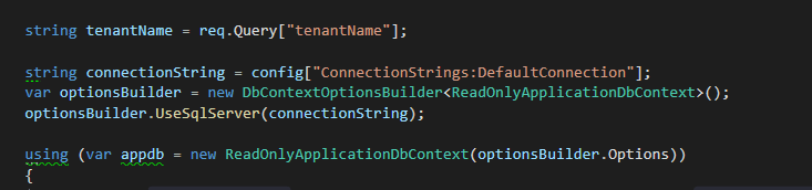 How to initiate an Entity Framework Core Database Context in an Azure Function?