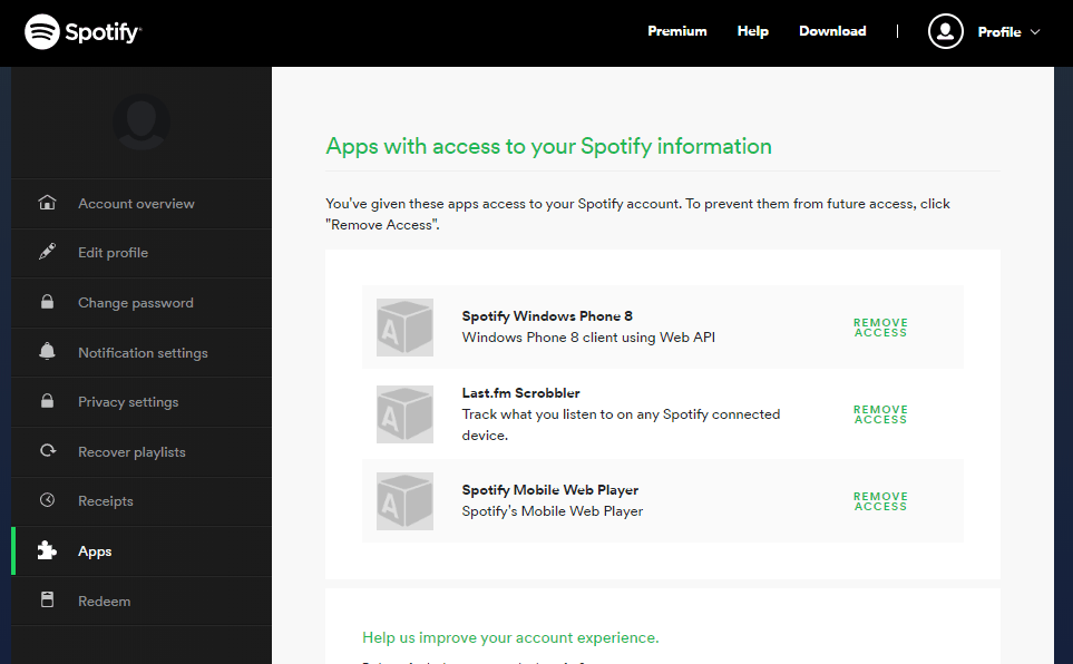 Manage app access to your Spotify account.