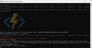 Azure Functions runtime throws an