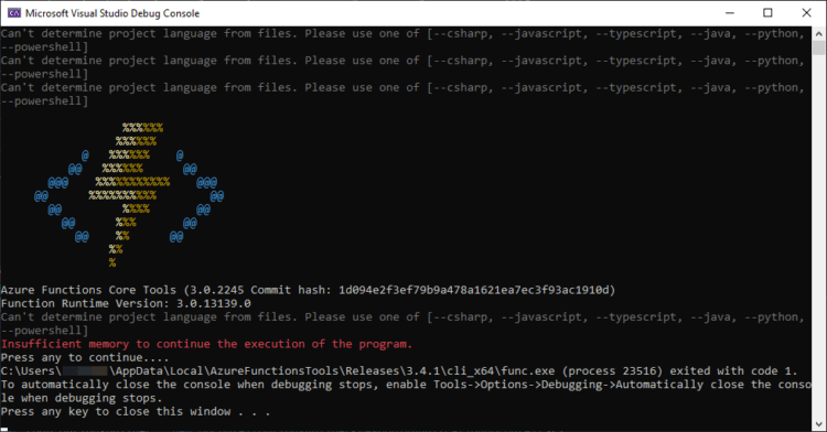 "Azure Functions runtime throws an ""Insufficient memory to continue the execution of the program."" error. What do?"