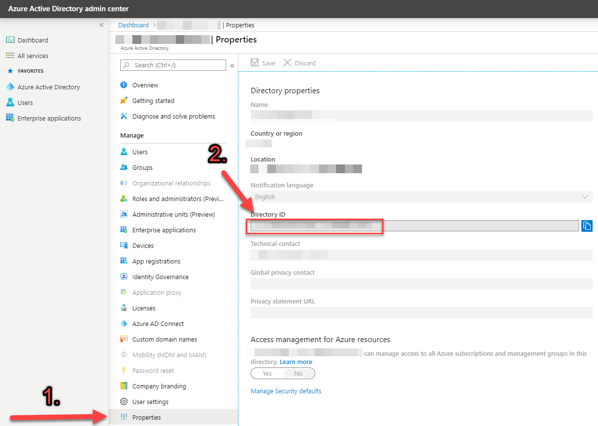 How to find the Directory ID from Azure AD admin center