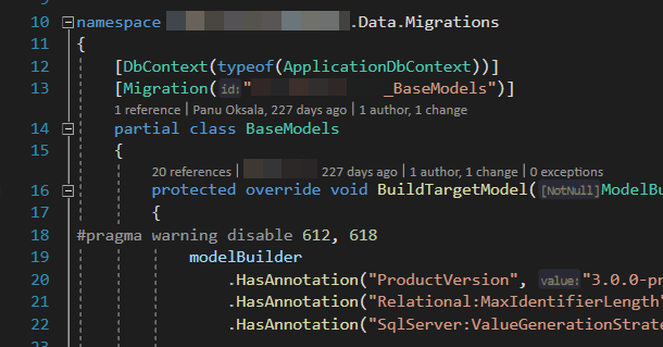 "The ""Migrations"" folder in a project with Entity Framework Core code-first migrations has a bunch of files that'll take care of the creation of your model - but they're tied to a certain database context, as illustrated by the [DbContext(typeof(ApplicationDbContext))] attribute."