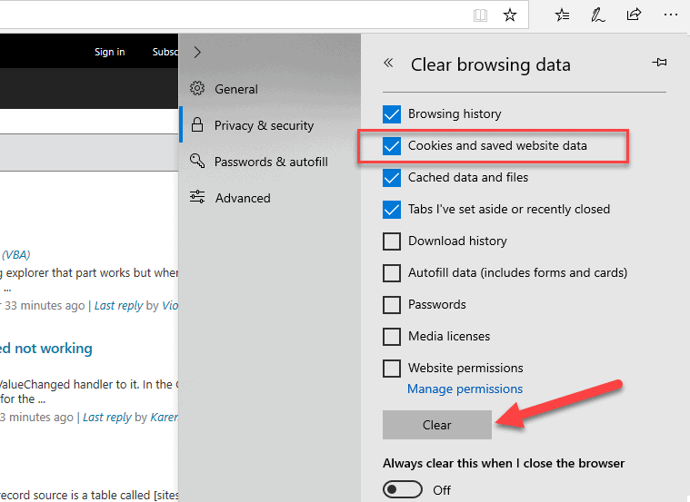 "How to clear cookies in Microsoft Edge - hit Ctrl + Shift + Delete, select ""Cookies"" and hit ""Clear""."
