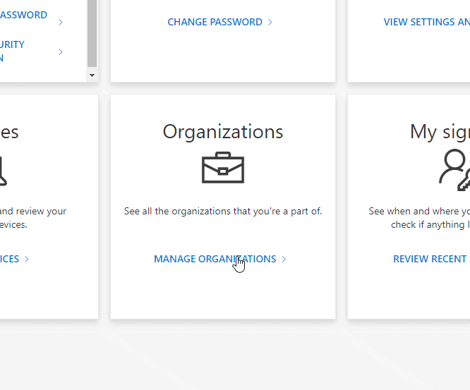 """""""Organizations""""-section in Microsoft's account control."""