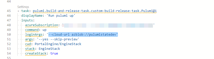 Where to configure the name of the Azure storage account hosting the state of your Pulumi stack?