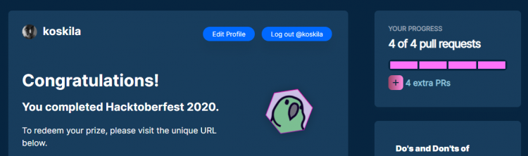 Hacktoberfest 2020 - completed!