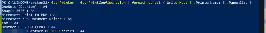 Output from querying all of your printers using PowerShell.