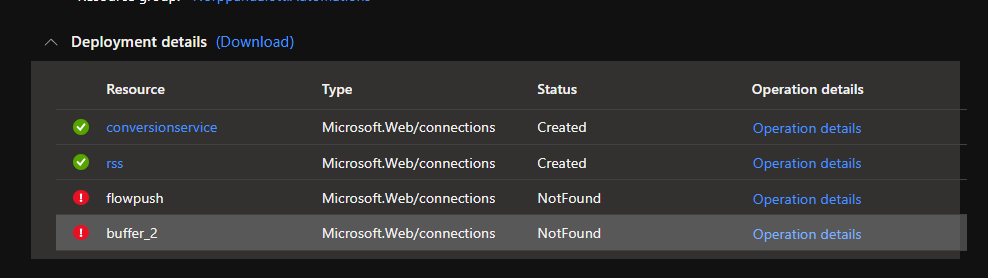 """""""ApiNotFound"""" or """"NotFound"""" error for a connector when deploying a Logic App from a template."""