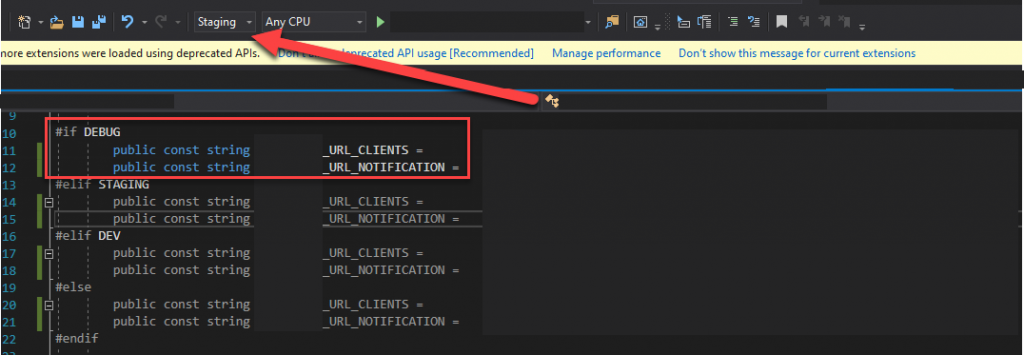 Build directives can enable and disable certain sections of the code - but in this example, the wrong sections are getting enabled!