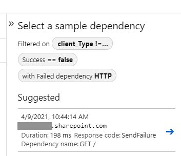 Filter by failed dependency (HTTP) - brings up failed connections to a SharePoint tenant.